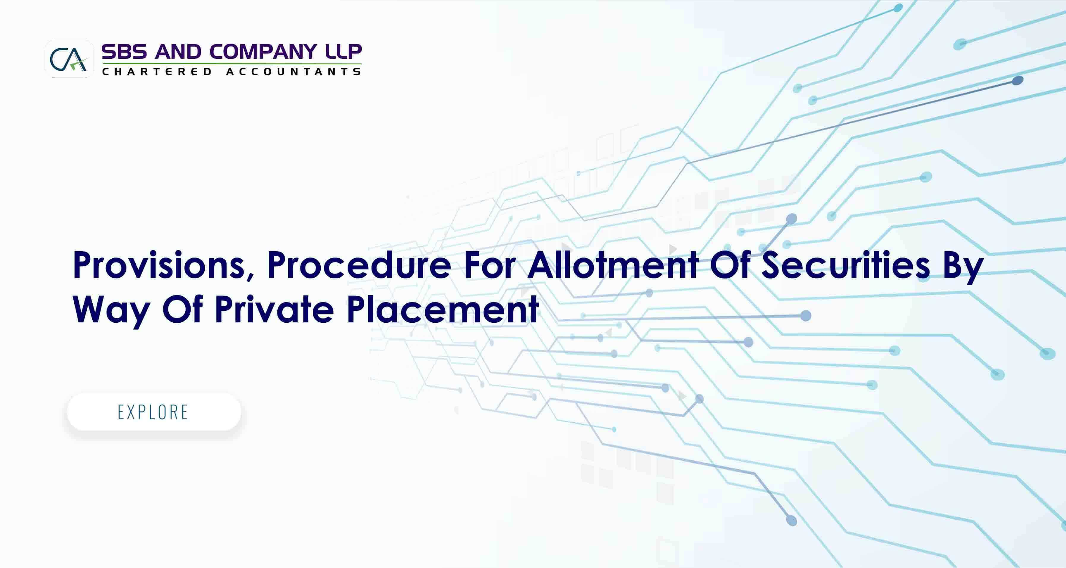 Provisions, Procedure For Allotment Of Securities By Way Of Private Placement